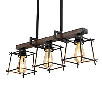 Wood Chandeliers Island Lights Rustic Farmhouse Chandeliers Linear Hanging Pendent Lighting Fixture 3-Lights Industrial Ceiling Light for Dining Rooms Living Room Kitchen Bar Pool Table
