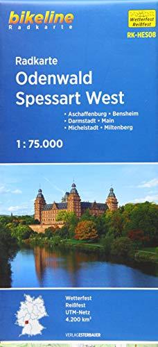Radkarte Odenwald Spessart West (RK-HES08): Aschaffenburg, Bensheim, Darmstadt, Michelstadt, Miltenberg 1:75.000 (Bikeline Radkarte)