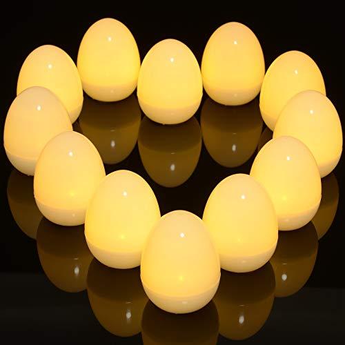 Ymenow - 12 unidades de luces nocturnas con forma de huevo, suaves luces LED de ambiente para niños, bebés, dormitorio, mesa, decoración del hogar, estable blanco cálido