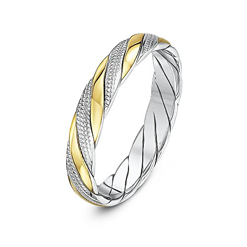 Theia Unisex 9 ct Yellow and White Gold, 4 mm Millgrain Design Twisted Wedding Band Ring, Size I