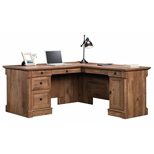 Pemberly Row Home Office L Shaped Corner Desk with Computer Tower Storage and Letter/Legal File Drawer, Vintage Oak