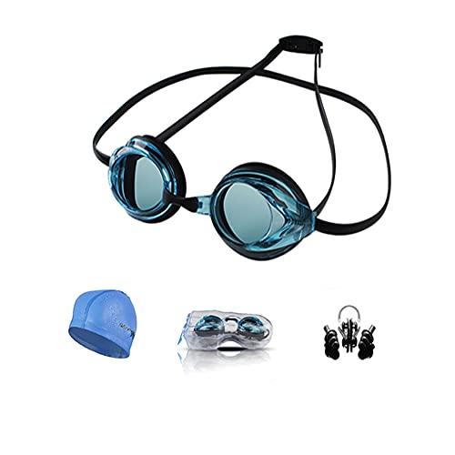 Ancaiqi Gafas de natación 3.0 Anti-vaho protección UV Sin Fugas Ideales Para Entrenamiento y Competicióncon con Gorro de Natacion Clip de Nariz Enchufe de Oído Funda Protectora, para Hombre Mujere