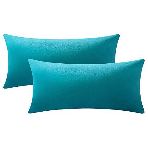 DEZENE Fundas de Almohada Turquesa 40cmx80cm: 2 Paquetes de Fundas de Cojín Decorativas Rectangulares de Terciopelo Suave Sólido para Sofá de Dormitorio