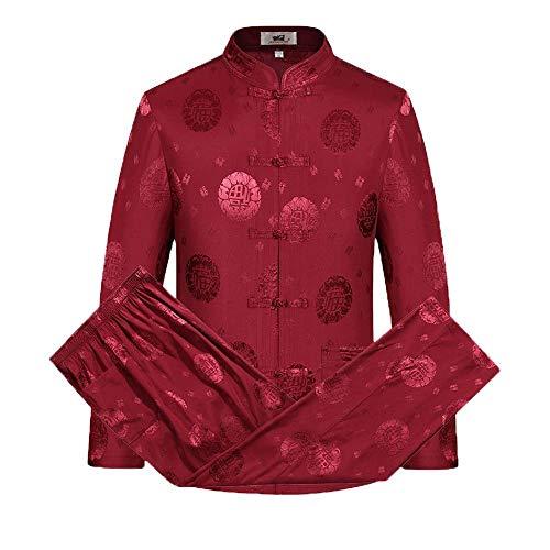 Yjll Chinese kleding, traditioneel, hennep, katoen, overhemd, lange mouwen, mantel en broek, voor mannen