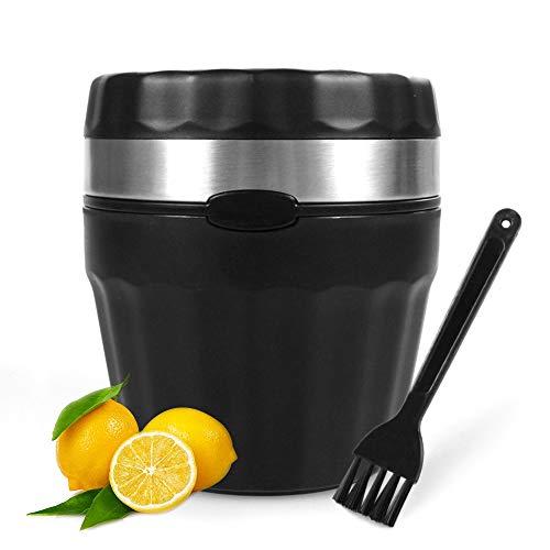 LEMCASE Exprimidor de Limón Manual - Exprimidor de Limón, Exprimidor de Lima, Exprimidor de Frutas, Exprimidor - Exprimidor Manual con tapete de Silicona, Cepillo de Limpieza Gratuito | Negro