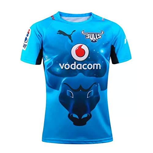 YHANS Rugby-Spieltrikots für HerrenRugby World Cup 2019 Neuseeland Bulls Super-Rugby Jersey, Männer Training Jersey schnell trocknend atmungsaktiv Polo-T-Shirt Tops,Blau,L