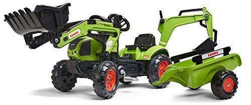 Falk–2040N–Outdoor-Spielzeug–Baggerlader Claas Arion 410+ Anhänger + Baggerschaufel