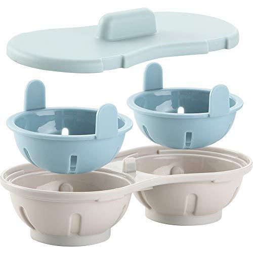 Tongdejing, cuociuova in camicia, doppia tazza doppia grotta design ad alta capacità, cuociuova forno a microonde cottura a vapore utensile da cucina resistente al calore