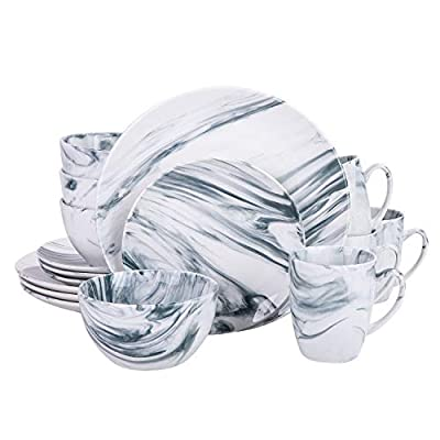 Cutiset Unique Accent Elegant Natural Marbleized 16 piece dinnerware set, service for 4