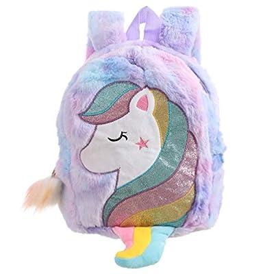 Volud - Mochila de peluche para niñas, diseño de unicornio, morado (Morado) - A59U0811I3Y7M6V