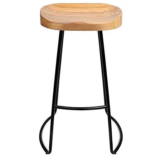 WHOJA Taburete de Bar Arte de Hierro Taburete Alto de Madera Maciza Silla de Desayuno de Cocina Negro Mueble Bar Peso del rodamiento 150kg Alto 45/65 / 75cm Silla de Comedor