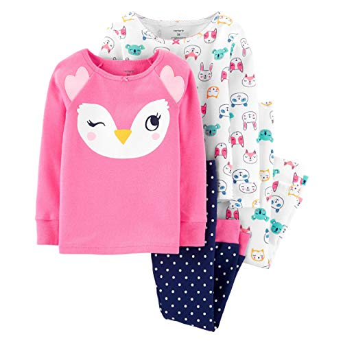 Carter's Toddler and Baby Girls' 4 Piece Cotton Pajama Set, Owl, 5T