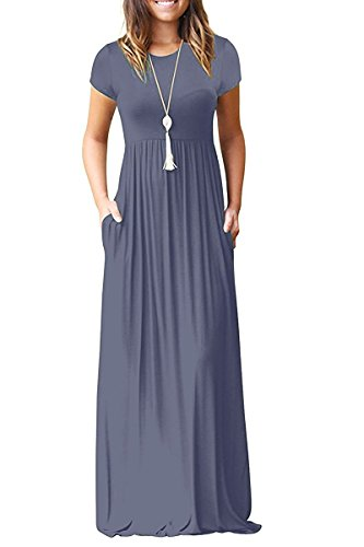 GRECERELLE Women's Short Sleeve Loose Plain Maxi Dresses Casual Long Dresses with Pockets Purple Gray XX-Large