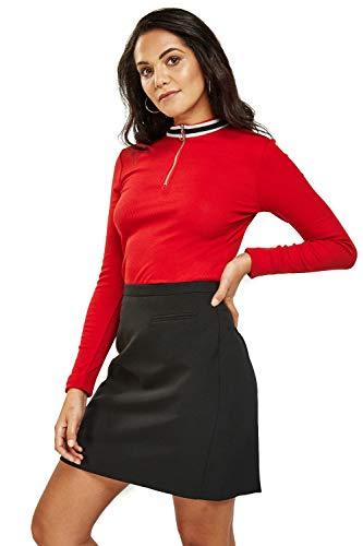 Easy Wear Blusa de algodón con cremallera para mujer, cuello