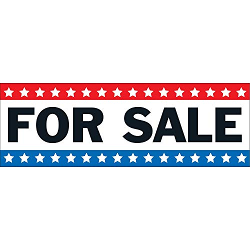 HALF PRICE BANNERS | for Sale Vinyl Banner -Heavy Duty Outdoor 4X12 Foot -Stars | Includes Zip Ties | Easy Hang Sign-Made in USA