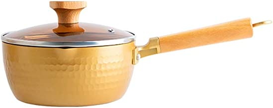 Sauce Pan with Glass Lid Soup Pot Pasta Pot for Soup, Stew, Sauce Cooking Pot Suitable for Every Stove (Color : Yellow)