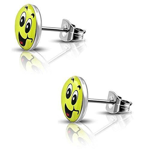 Bungsa Ohrstecker fröhlicher SMILEY silber/gelb - runde Ohrringe mit lachendem SMILEY - nickelfreier EDELSTAHL Ohrschmuck für Kinder, Frauen & Männer - niedliche EMOJI Earstuds mit Smiley