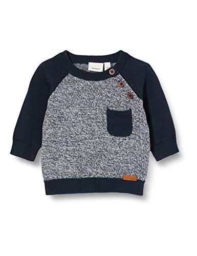 NAME IT Baby-Jungen NBMBOBBO LS Knit Pullover, Blau (Dark Sapphire), 80
