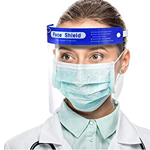 ?US Stock,10 pack?Simsii Face Shields, Reusable Clear double side Anti-fog,Thickness 0.25mm, General Use Visor, Splashproof Windproof Dustproof, Protect Eyes and Faces for Adults and Kits by Simsii