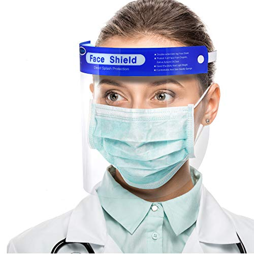 【US Stock,10 pack】Simsii Face Shields, Clear double side Anti-fog,Thickness 0.25mm, Non-Medical Use Visor, Splashproof Windproof Dustproof, Protect Eyes and Faces