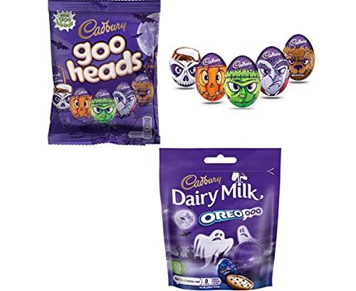 Halloween Cadbury Dairy Milk Goo Heads Crème Egg Chocolate Minis, 78g and Dairy Milk Oreo OOO 72g – 2 Pack of Cadbury Dairy Milk