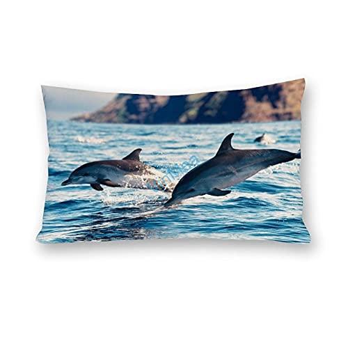Funda de almohada impresa con dos delfines en el océano, algodón y poliéster, para sofá, sala de estar, funda de almohada de 30 x 60 cm