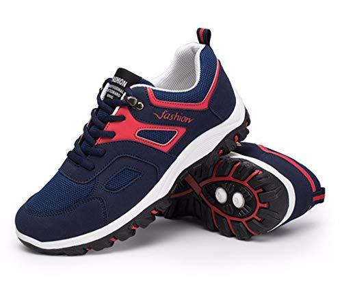 XIMIXI - Zapatillas de deporte para hombre, de malla transpirable, antideslizante, suela de goma, con cordones, casual, para correr, montañismo, al aire libre, color Azul, talla 42.5 EU