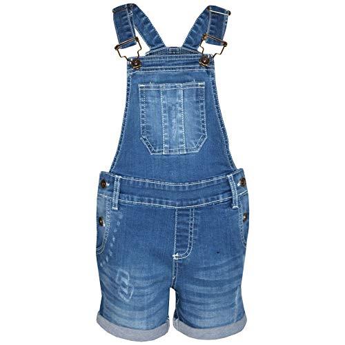 A2Z 4 Kids Kinder Mädchen Latzhose Kurze Hose Designer - Shorts Dungaree D77 Light Blue 9-10