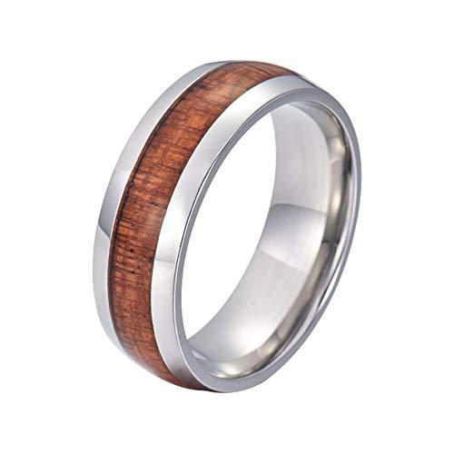 Gualiy Alianzas de boda para hombres, 8 mm de acero inoxidable/tungsteno con incrustaciones de madera para hombres, niño, padre, marido, plateado y marrón,