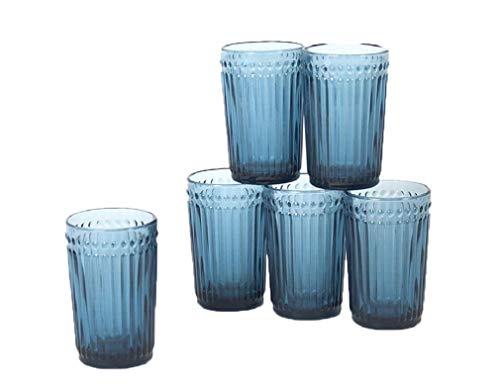 Gerimport Pack de 6 Vasos de Cristal Azul Medidas 8x8x13 cm Capacidad 356 ml