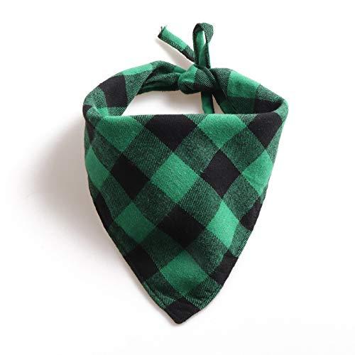 Nieuwe stropdas met grote plaid driehoek handdoek sjaals Amazon strappet huisdier slabbetje, 33*33*78cm, Zwart groen rooster