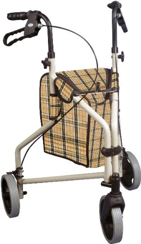 "Winnie Lite Supreme 3 Wheel Rollator Walker - The Winnie Lite Supreme/Go-Lite Three Wheel Rollator By Drive Medical Comes In An Attractive Tan Finish. The Lightweight, Solid 7.5"" Tires Are Ideal For"
