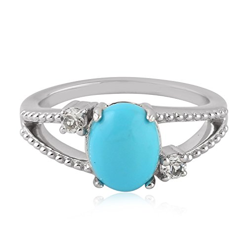 Mettlle 925 Sterling Silver Celtic Knot Natural Oval Turquoise Solitaire Ring for Women Size 6