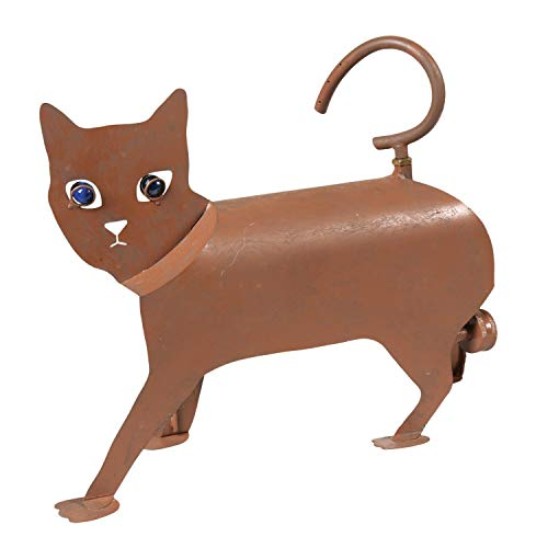 WHAT ON EARTH Spinning Tail Cat Sprinkler - Iron Animal Sculpture Lawn and Garden Watering Yard Art