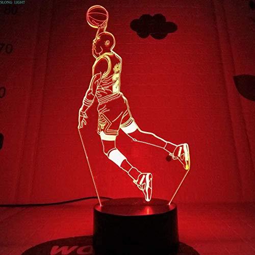 Tatapai 3D ilusión lámpara LED noche luz Michael Jordan figura decoración USB...