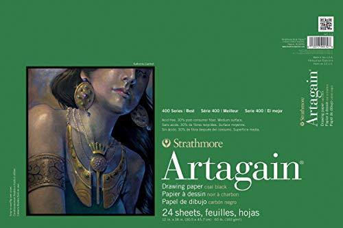 Strathmore 400 Series Artagain Pad, Coal Black, 12'x18' Glue Bound, 24 Sheets