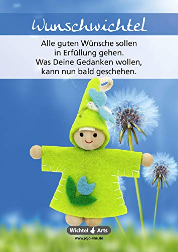 Wichtel Arts Wunschwichtel Glücksbringer, Holz, Grün mit Blauer Blume, 15 x 10.5 x 2.7 cm