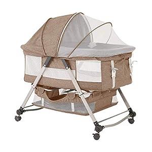 Baby Bassinet Bedside Sleeper Crib, Portable Travel Baby Bassinet Bed, Foldable Crib with Removable Tent and Storage Basket Height Adjustable for Newborns Girl Boy