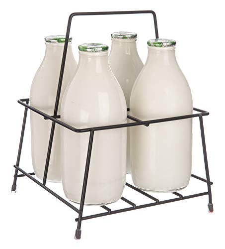 FiNeWaY Nostalgia Milk Bottle Holder Wire Tidy Crate Rack Carry Carrier Doorstep Store Drink Kitchen Storage Organiser Caddy with Integrated Handle (4 Bottle Rack)