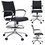 2xhome - Modern Adjustable Designer Ergonomic Office Drafting Chair Office with Arms Ribbed Computer (Black)