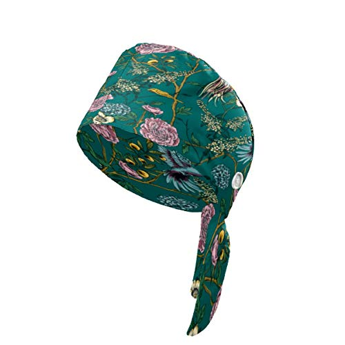 LIUBT Arbeitskappe mit Knöpfen, Retro-Gardeblüte, Blume, Vögel, Frühling, verstellbar, mit Schweißband, Kopfbedeckung für Damen, Herren, Jungen, Mädchen, Schwarz