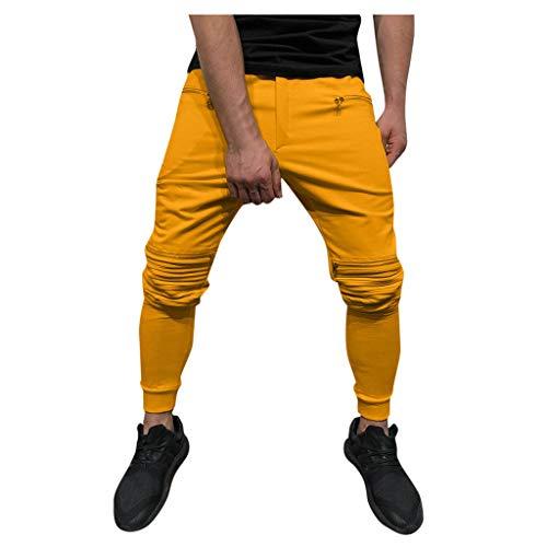 Transwen Pantalones Cargo para Hombre, Pantalones de Exterior, Pantalones Chinos Ajustados, Pantalones de Deporte, Pantalones de Ocio, Rodillas con Cremallera Naranja M