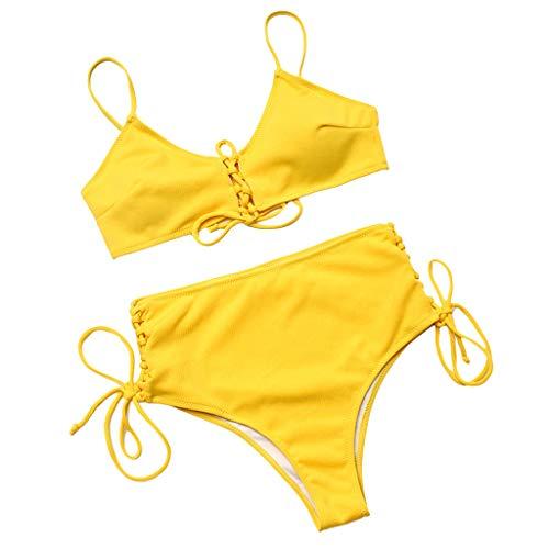 LUCKDE Damen Bandeau Bikini Set, Bademode Große Größen Mixkinis Abnehmbar Neckholder Gepolstert Badeanzug Badeanzüge
