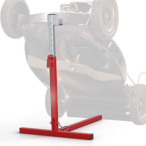 VOUNOT Lève Tondeuse Hauteur Ajustable de 43 à 61cm Charge Max 50kg Soutien Frontal Cric Avec 8 Positions Idéal Pour Nettoyer ou Réparer Tondeuse