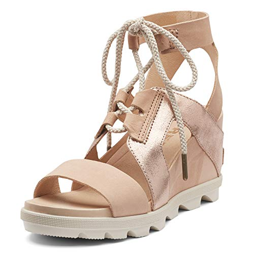 Sorel - Women's Joanie II Ankle Lace, Leather and Suede Sandal with Wedge Heel, Natural Tan, 9 M US