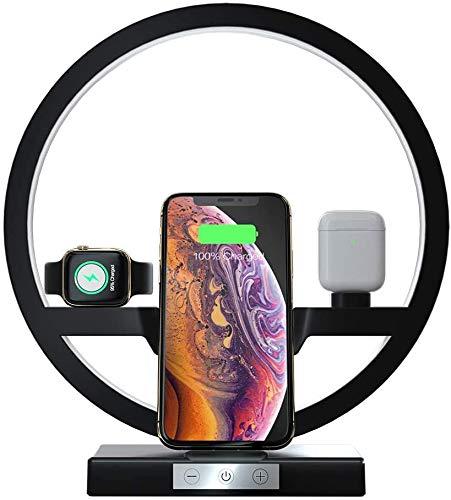 Auveach Caricatore Wireless 4 in1 con Lampada Caricabatterie Supporto Stazione di Ricarica da Comodino Compatibile per Smartphone Smartwatch