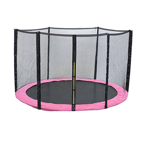 Greenbay 6FT Foot Replacement Trampoline Pad & Net SET | Pink UV Resistant PVC Top Safety Guard Spring Cover Padding Pads | Safety Enclosure Net Surround Outdoor Netting
