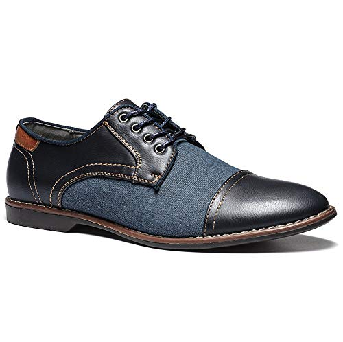 TAZAN 2019 Herren Schuhe Business Blau Lederschuhe Pointed Derby Splice Uniformschuhe Spitze Anzugschuhe Für Vintage Wedding Party Klassische Hochzeitsschuhe 39-44EU,Blau,43