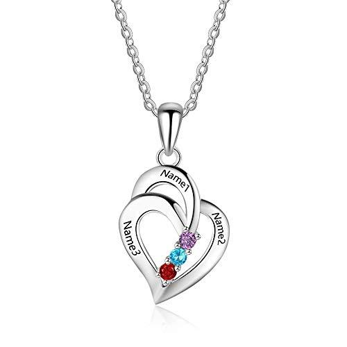 Stɑy Real Angepasster Namenskette with Geburtsstein 925er Silber Personalisiert mit Ihrem Eigenen Wunschnamen Halskette für Damen (Silber,55cm)