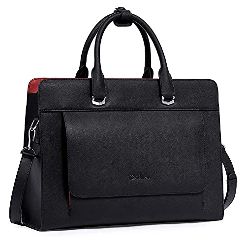 BOSTANTEN Laptop Bag for Women 15.6 inch Leather Briefcase Slim Messenger Bag Shoulder Tote Handbags Black